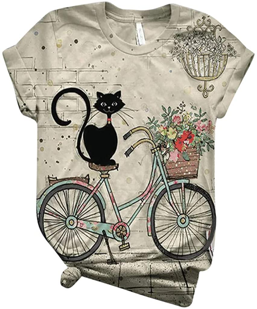 Womens Short Sleeve Tops, naioewe Shirts for Women Cute 3D Animal Print T-Shirt Casual Short Sleeve O-Neck Blouse Tops