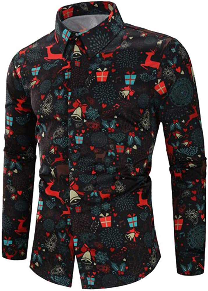 F_Gotal Men's Slim Fit Long Sleeve Floral Snowflakes Santa Candy Ugly Christmas Shirt Casual Button Down Dress Shirts