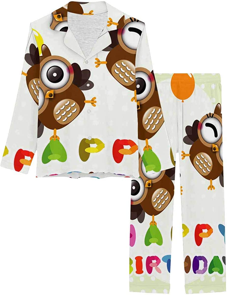 InterestPrint Women's Pajamas Set Long Sleeve with Long Pants XS-XXL Happy Birthday Card with Cute Owls