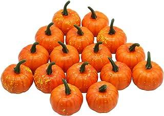 YOFIT 16 Pcs Artificial Fruit Fake Mini Pumpkins for Halloween House Party Decoration Small Orange LZ5LWSDCGP