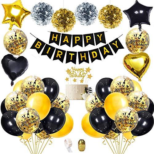 SPECOOL Schwarz Gold Geburtstagsfeier Dekorationen mit DIY Cake Topper, Happy Birthday Banner, Funkelnden Quasten, konfetti Ballons, Special Deko Geburtstag zum 18th 21st 30th 40th 50th