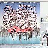 ABAKUHAUS Spaß Duschvorhang, Flamingos Labyrinth-Spiel Joy, Bakterie Schimmel Resistent inkl. 12 Haken Waschbar Stielvoller Digitaldruck, 175 x 200 cm, Korallen Violett Blau Blass Blau