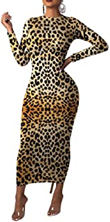 Howely Women's Leopard Print Skinny Long Sleeve Sexy Winter Fall Long Maxi Dress