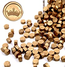 UNIQOOO Arts & Crafts 180 Pcs Metallic Antique Gold Bottle Sealing Wax Beads Nuggets for Wax Seal Stamp, Great for Embellishment of Cards Envelopes, Wedding Invitations, Wine Packages, Gift Wrapping