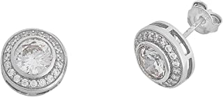 Bevilles Sterling Silver Cubic Zirconia Halo Earrings
