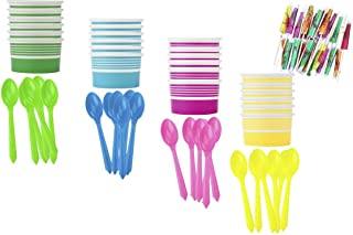 Ice Cream Sundae Kit - Yellow Blue Pink Green - Paper Dessert Cups - Plastic Spoons - Paper Umbrellas - Birthday Party Goo...