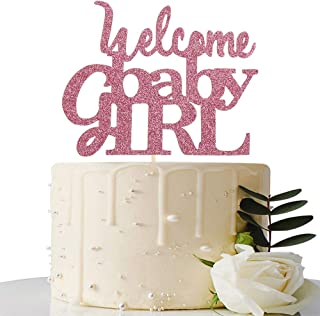 Pink Welcome Baby Girl Cake Topper - Baby Shower Party Decorations - Gender Reveal for Baby Girl Party Decorations