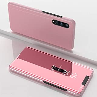 Galaxy A90 5G Case,Translucent Window View Flip Wallet Stand Cover,Shiny Plating Make Up Mirror,TAITOU Smart Sleep/Awake H...