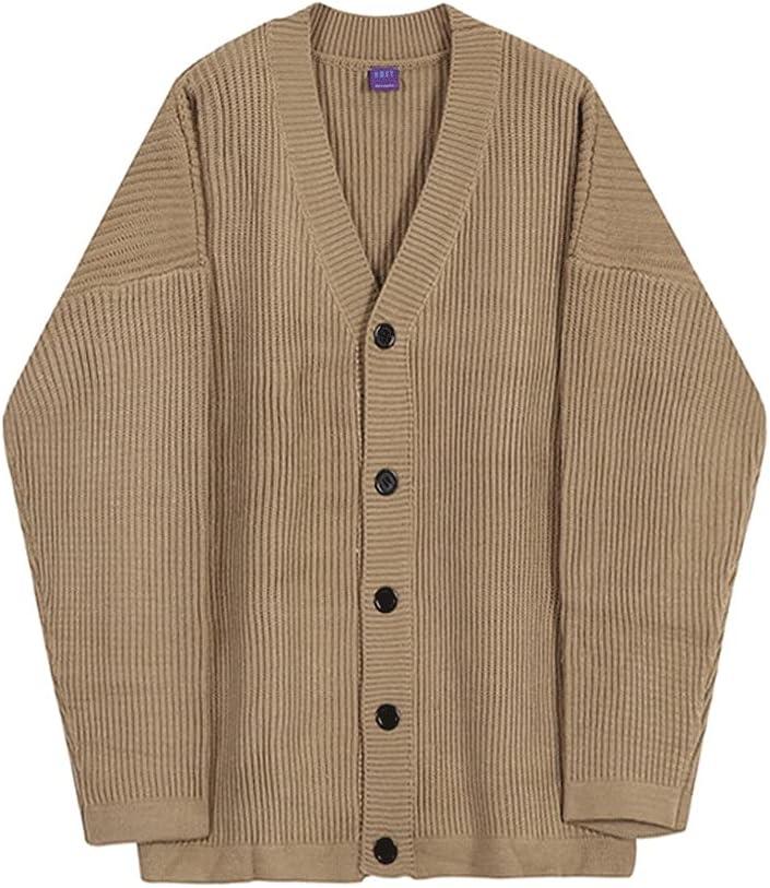 SSMDYLYM Loose Knit Cardigan Swaeter Men's Spring Autumn Thickening Korean Fashion Casual Kintwear (Color : Khaki, Size : L Code)