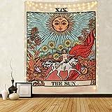Amknn – Tarot-Wandteppich / Tapisserie / Wandbehang, Motiv: Tarotkarte, Mond, Stern, Sonne, europäischer Mittelalter-Stil, Wahrsagerei, Wandteppich Sonne, 150cmx130cm
