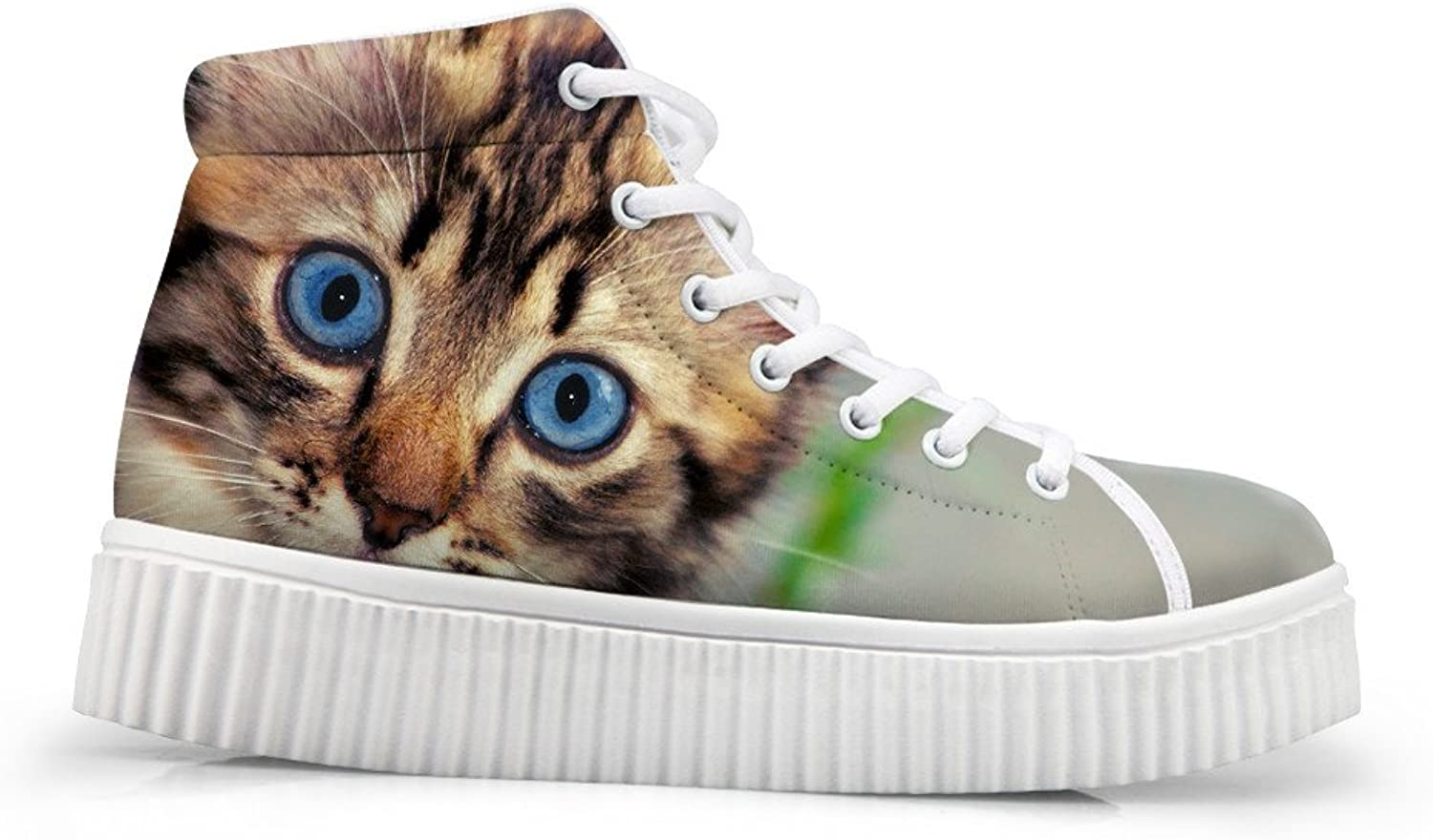 Mumeson Cute Dog Cat Print Women Teens High Top Platform shoes Sneaker