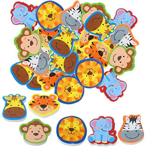 com-four® 36x Radiergummi mit Tier-Motiven - Radierer in bunten Farben - ideal als Mitgebsel auf Geburtstagen oder für die Schultüte [Auswahl variiert]