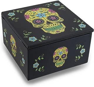 Day of The Dead Yellow Sugar Skull Dia De Los Muertos Mirrored Trinket Box