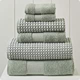 Amrapur Overseas 6-Piece Yarn Dyed Cobblestone Jacquard Towel Set, Mineral Green