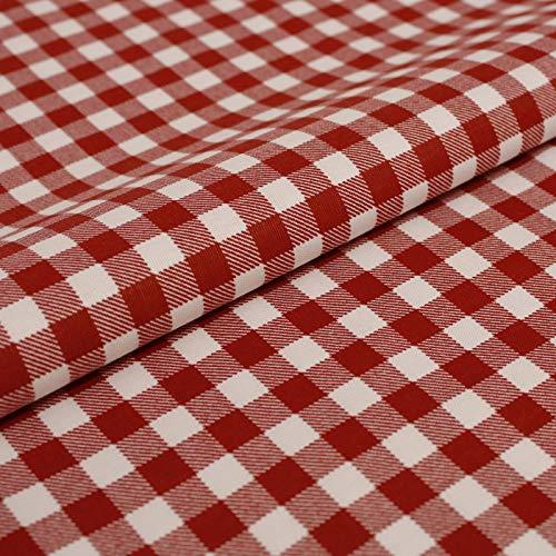 Hans-Textil-Shop Stoff Meterware Vichy Karo 1x1 cm Rot Druck Baumwolle - 1 Meter (Kariert, Karomuster, Deko, Landhausstil)