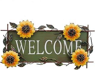 Metal Hanging Sunflower Welcome Door Sign, Front Door Hanging Welcome Sign Sunflower Door Decor for Indoor Outdoor (Color- Style 5)