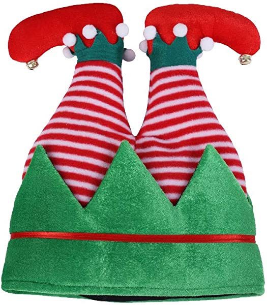 Funny Christmas Elf Hat Tree Legs Christmas Elf Upside Cap Elf Pants Hats Xmas Party Costume For Adults Kids Christmas Supplies Stripe Style