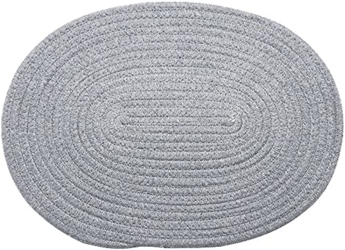 RUGAI UE Place Mats Work Woven Cotton Line Heat Insulation Pad Creative Pan Pad Bowl Pad Pads With Thick Anti Ironing Pad Light Gray Oval