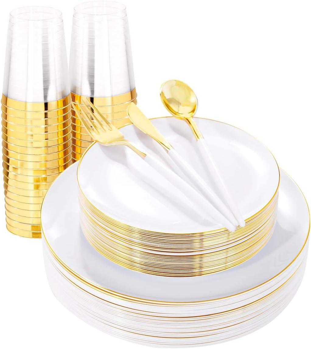 THALIA 180pcs All items free shipping Gold Plastic Plates set Dinnerware Go Dallas Mall