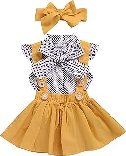 Conjunto de ropa de verano para bebé y niña, con mangas de lunares, falda con lazo y cinta para la frente.