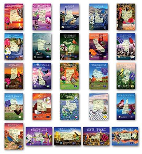 Postkarten US State Map 50 Stück Modernes Postkarten-Set Postkarten mit Karten aller fünfzig Länder der Vereinigten Staaten von Amerika. Hergestellt in den USA.
