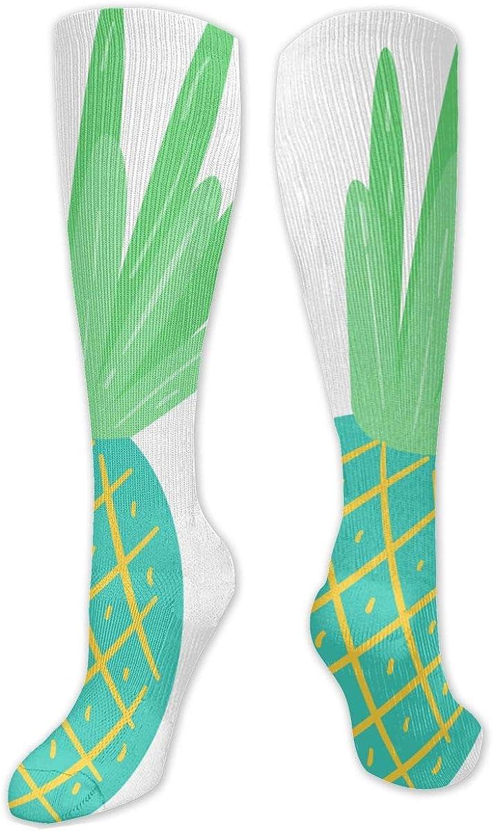 Green Pineapple Knee High Socks Leg Warmer Dresses Long Boot Stockings For Womens Cosplay Daily Wear
