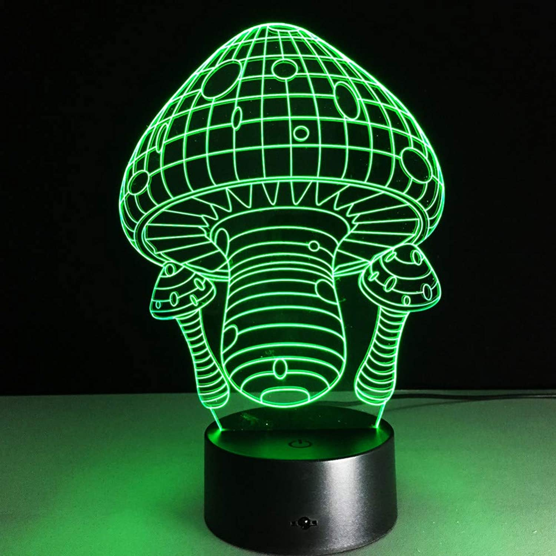 KAIYED 3D Night Light 7 color Change Cartoon Mushroom Shape Led 3D Night Light USB Table Lamp with Touch Remote Sensor Light