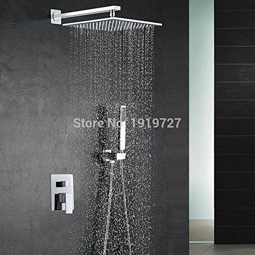 Luxurious shower 10 Zoll Duschkopf Luxus an der Wand montierte Quadratische Ausführung Messing Wasserfalldusche Set Factory Direct neue Niederschlag Badezimmer Dusche Kit, Weiß