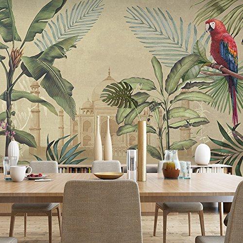 HUANG YA HUI Papel pintado La Selva Tropical Mural Restaurante Salón De Planta De Impresión De Papel De Pared De Fondo Paredes De Papel Para Pared Estilo Personalizado
