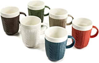 Ceramic Coffee and Tea Mugs (Set of 6), Unique Sweater Texture Design by Yedi Houseware|Premium Quality Porcelain In 6 Cozy and Cheerful Colors and Amazing Knit Details|Perfect Housewarming Gift|10 Ounce