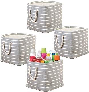 mDesign lot de 4 caisses de rangement avec poignées – paniers à linge pour ranger la buanderie – box organisateurs en tiss...