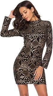 BOOB-88 Womens Dresses, Sexy Women's Sequins Long Sleeve O Neck Mini Dresses Party Dress