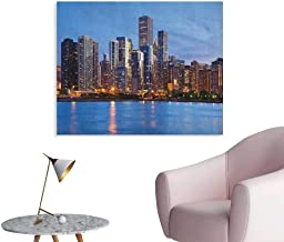 Anzhutwelve Chicago Skyline Photo Wall Paper Sunset in Big City with Dramatic Sky Skyscrapers Evening by Lake Funny Poster Blue Orange Taupe W32 xL24