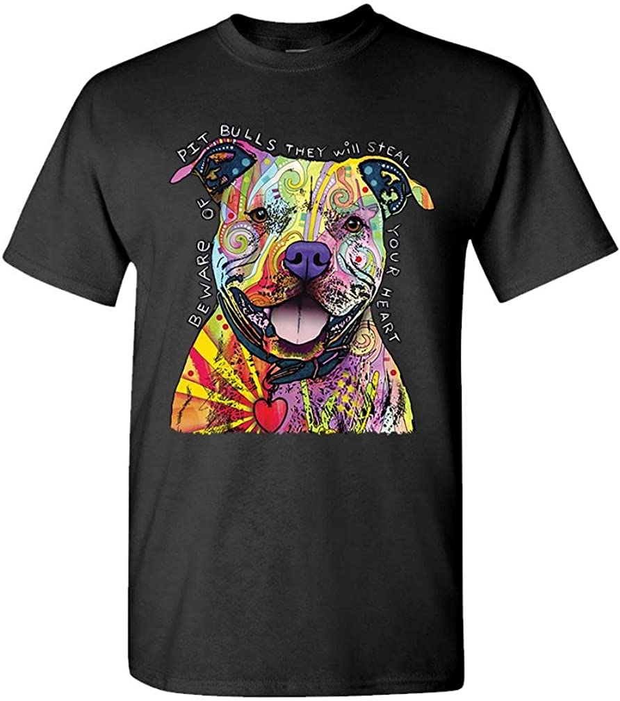 The Goozler Beware of Pit Bulls Dean Russo Dog Canine - Mens Cotton T-Shirt