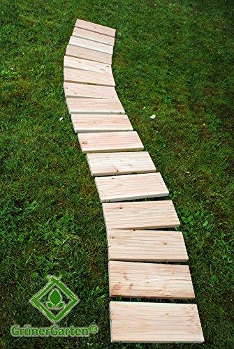Zebra und Art Design GmbH GrünerGarten Premium Rollweg XL28 - Douglasien-Holz, Blockbohlen 28 mm, schadstofffrei, witterungsbeständig, ca. 250 x 35 cm (L/B)