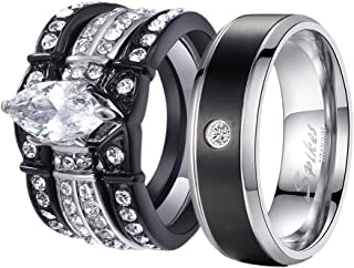 MABELLA His and Hers Wedding Ring Sets Couples Matching Rings Black Women's Stainless Steel Cubic Zirconia Engagement Ring Bridal Sets & Men's Titanium Wedding Band