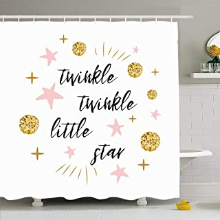 Ahawoso Shower Curtain Set with Hooks 66x72 Twinkle Bedtime Poster Little Star Text Lettering Cute Signs Vintage Design Symbols Happy Colors Waterproof Polyester Fabric Bath Decor for Bathroom