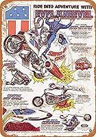メタルブリキサイン 1977年 Evel Knievel おもちゃ ヴィンテージ ウォールプラーク 男の洞窟 ポスター 装飾 サイン 家の装飾 屋内 屋外 誕生日 ギフト 7x10インチ メタルプレートブリキ 看板 2枚セットアンティークレトロ