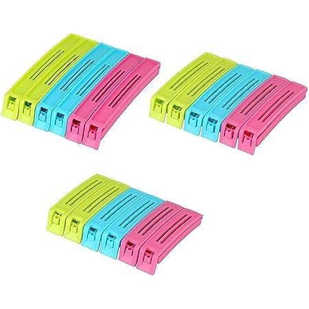 Nessie Multipurpose Food Snack Plastic Bag Clip Sealer/Packet Sealer Clamps/Manual Vacuum Bag Sealer/Food Pouch Clip/Bag Zipper/Food Clips Sealer for Home Kitchen (Multicolor, Pack of 1-18 Pic)
