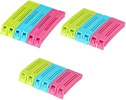 TWENOZ Plastic Sealing Bag Clips (Multicolour) - Pack of 18