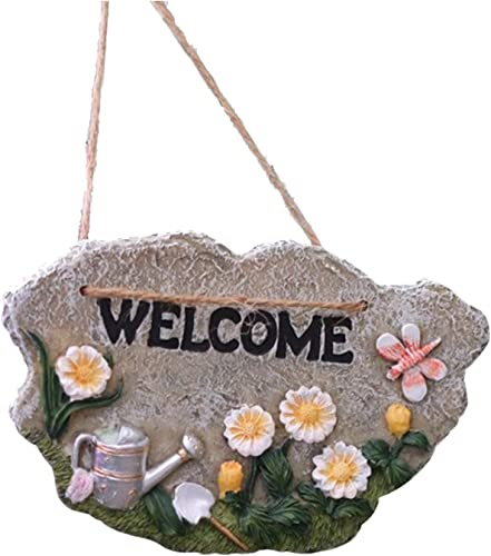 high quality Garden Welcome Sign discount Outdoor Resin Decoration for Lawn Patio Floral Resin Welcome Sign for Garden Decoration -Welcome to My Garden Hanging Rustic Signs Herb wholesale Plants Welcome Sign, 6x3 online sale