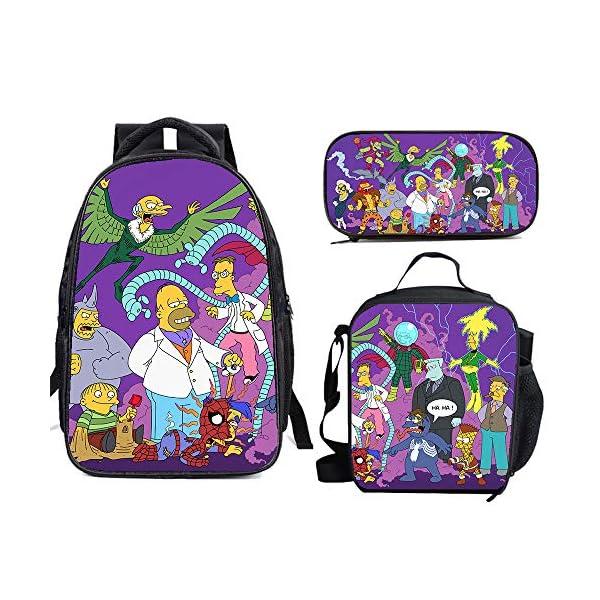 61zEIA0bPML. SS600  - The Si-mps-ons - Juego de mochila escolar con bolsas de almuerzo y estuche ligero para viaje para niños y niñas