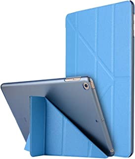 Kickstand protective Phone Case For iPad 10.2 inch Silk Texture Horizontal Deformation Flip Leather Case with Holder(Pink) (Color : Light Blue)