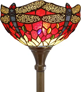 Tiffany Style Torchiere Light Floor Standing Lamp Wide 12 Tall 66 Inch Red Cloud Stained Glass Crystal Bead Dragonfly Lampshade for Living Room Bedroom Antique Table Set S328 WERFACTORY