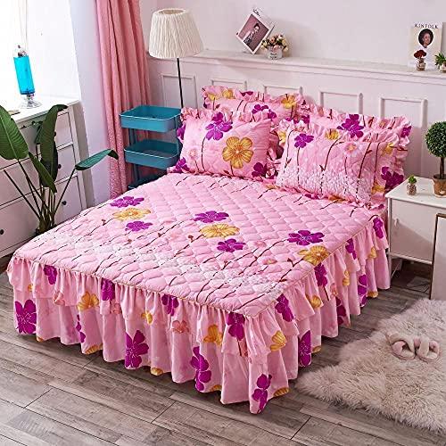 CYYyang Protector de colchón, algodón, poliéster, Hoja de Cama de Encaje de Falda de Cama engrosada-29_120 * 200cm