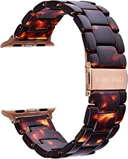 V-MORO Resin Band Compatible with iWatch Band 42mm 44mm Series 4/3/2/1 Women Men with Stainless Steel Buckle, Apple Watch Replacement Wristband Strap(Tortoise-Tone, 42mm)