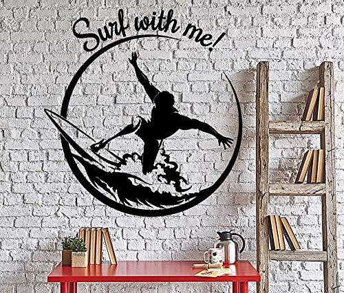 Calcomanía de vinilo surf boy deportes extremos surf conmigo valiente joven tabla de surf Wave DIY pegatina de pared dormitorio GYM Club decoración del hogar arte mural cartel