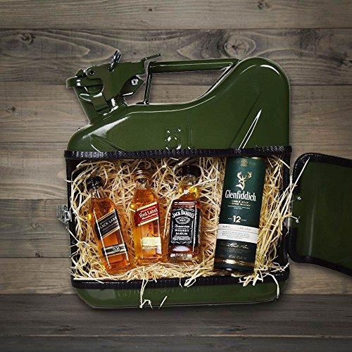Geschenkbox Kleiner JerryCan Kanister Mobile-Whisky-Bar Barschrank, 28 x 25 x 9 cm, grün