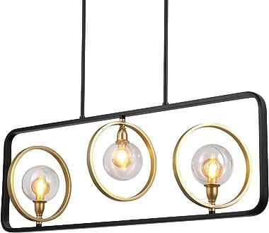 "Osimir 3-Light Kitchen Island Pendant Lighting, 38.75"" Island Light Fixtures in Matte Black & Gold Finish, Clear Globe Glass Ceiling Light, CH9126-3"