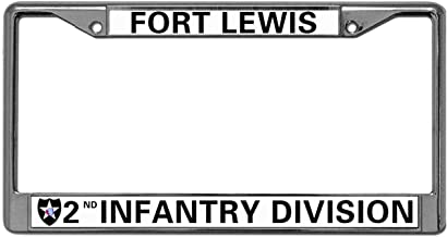GND 2-Holes Stainless License Plate Frame Veteran US Army Chrome License Plate Frame,Fort Lewis 2nd Infantry Division Black Stainless Steel License Plate Frame for US Vehicles